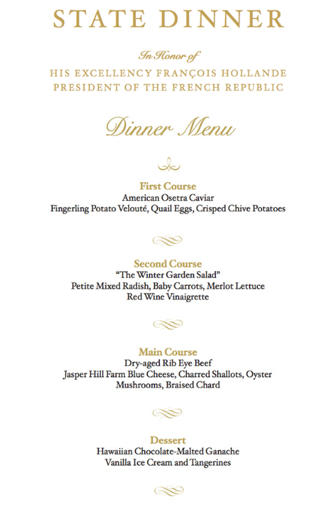 WHITE HOUSE STATE DINNER IN HONOR OF HIS EXCELLENCY FRANÇOIS HOLLANDE, PRESIDENT OF THE FRENCH REPUBLIC