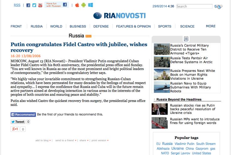 VLADIMIR PUTIN'S CONGRATULATORY LETTER TO FIDEL CASTRO - http-::en.ria.ru:russia:20060813:52575189.html