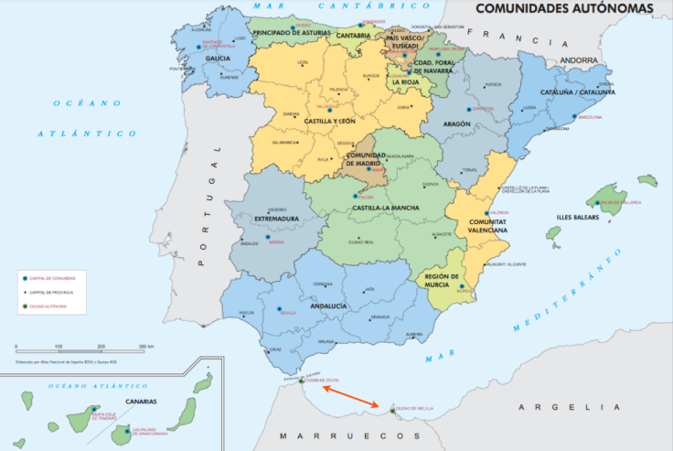CEUTA and MELILLA (indicated with red arrows) Autonomous communities of Spain.
