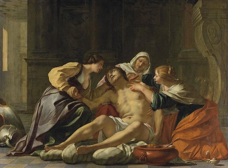 NURSES - SAINT SEBASTIAN NURSED BY SAINT IRENE AND HER HELPERS by Jacques Blanchard -  Someone has to say the truth... by Marielena Montesino de Stuart