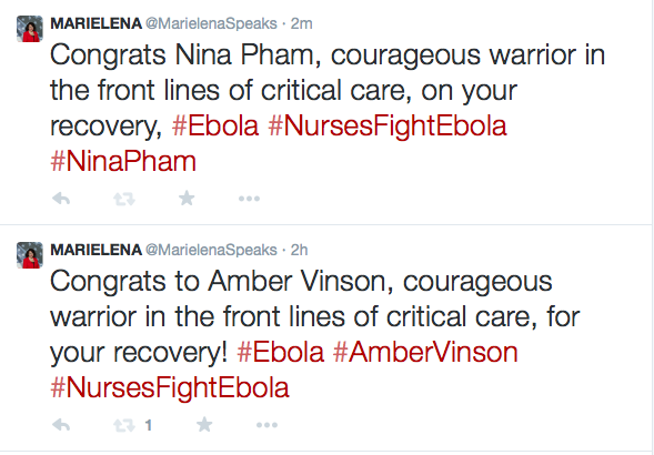 Twitter post congratulating Nina Pham and Amber Vinson