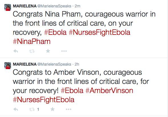 Twitter post congratulating Nina Pham and Amber Vinson