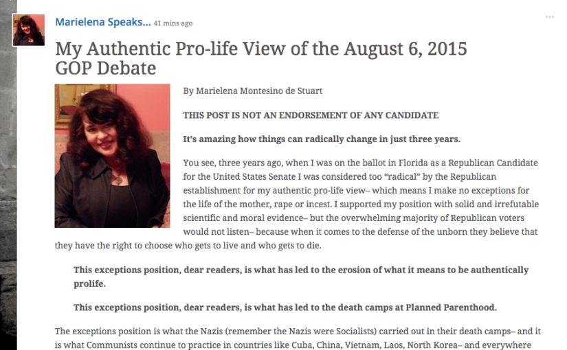 My Authentic Pro-life View of the August 6, 2015 GOP Debate