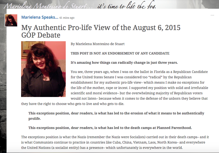 MY AUTHENTIC PROLIFE VIEW OF THE AUGUST 6, 2015 GOP DEBATE - Copyright © Marielena Montesino de Stuart. All rights reserved.