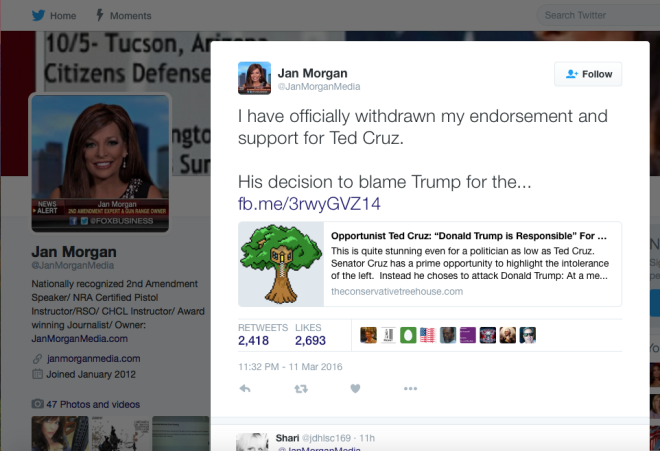 Jan Morgan, 2nd Amendment Activist withdraws support of Ted Cruz - March 11, 2016