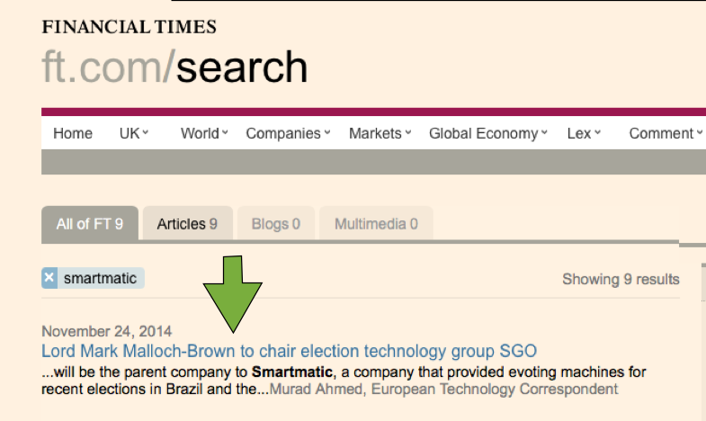 SMARTMATIC - LORD MARK MALLOCH BROWN - COLLEAGUE OF GEORGE SOROS - FINANCIAL TIMES
