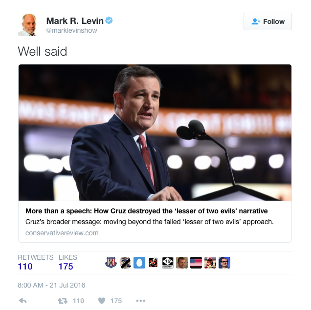 Mark Levin supports TEd Cruz's speech at 2016 Republican National Convention - Screen Shot 2016-07-21 at 11.36.40 AM