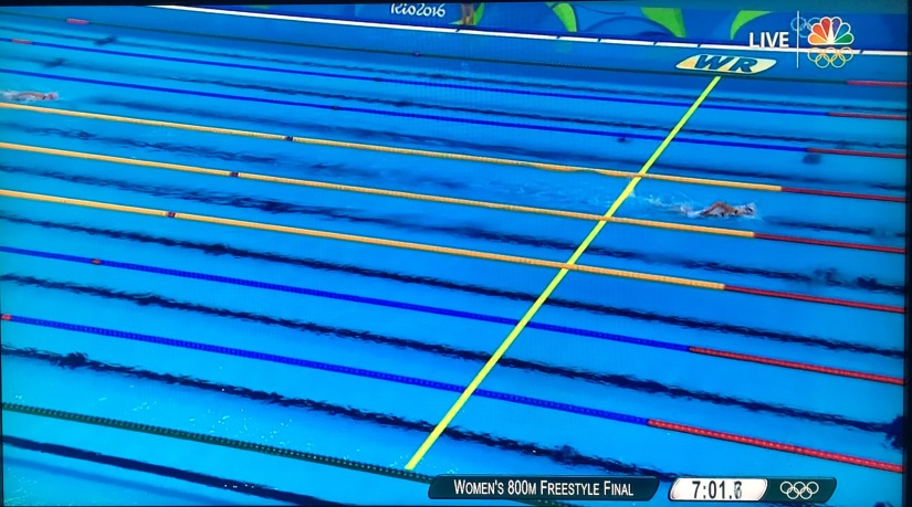 RIO 2016 OLYMPICS: Katie Ledecky is so far ahead of other swimmers, when they come– she's already gone!