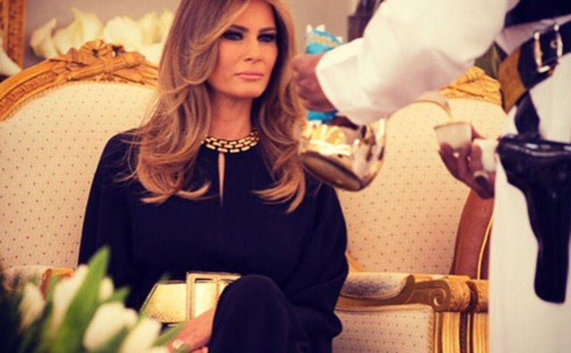 SAUDI ARABIA: Historic Photo of First Lady Melania Trump being served tea by armed Saudi male servant
